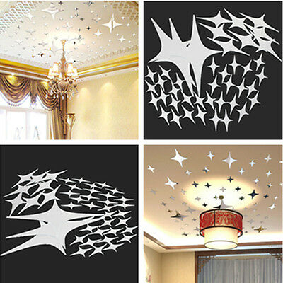 43pcs Silver DIY Stars Sky Wall Mirror Sticker For Decal Mural Home Room Decor