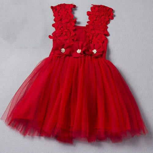 Flower Girl Kids Toddler Baby Princess Party Pageant Wedding Tulle Tutu Dress YE