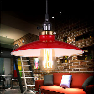 Details About Red Pendant Light Fixtures Vintage Kitchen Ceiling Lamp Dining Room Led Lighting