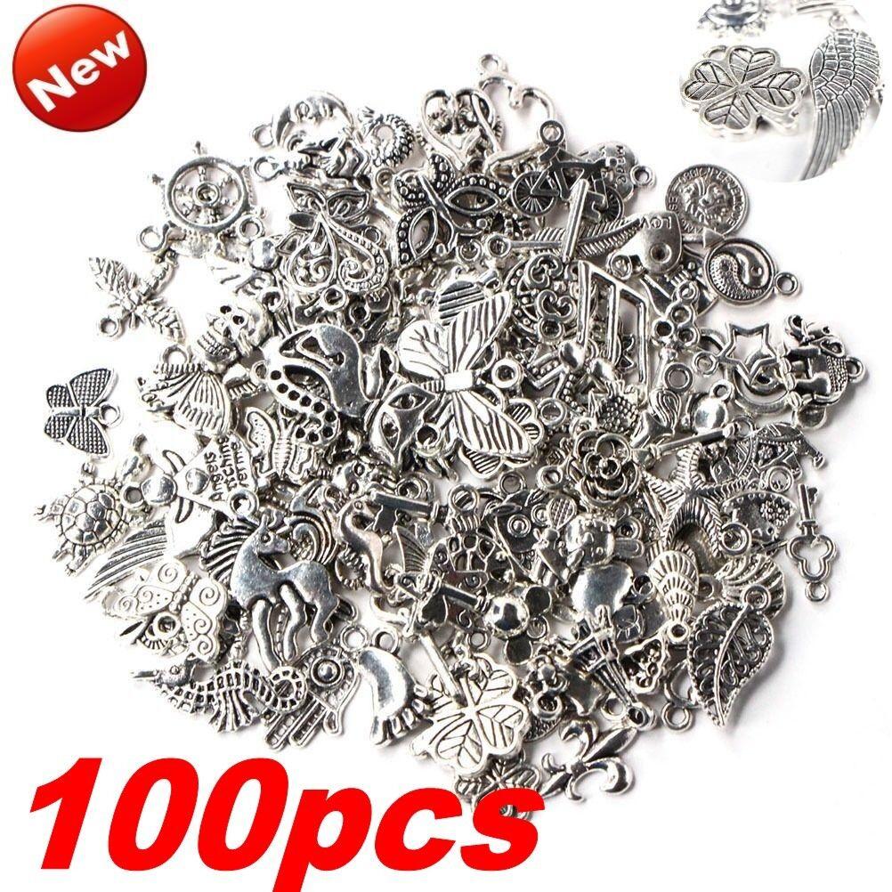 Wholesale 100pcs Bulk Lots Tibetan Silver Mix Charm Pendants Jewelry DIY Xmas!