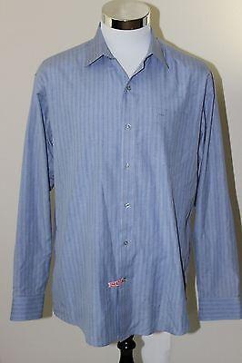HUGO BOSS Dress Shirt Blue Stripes Size 17.5 / XL LikeNEW