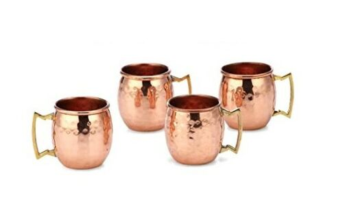 100% Authentic HAMMERED COPPER MOSCOW MULE SHOTS MUG 2-Ounce Set Of 16
