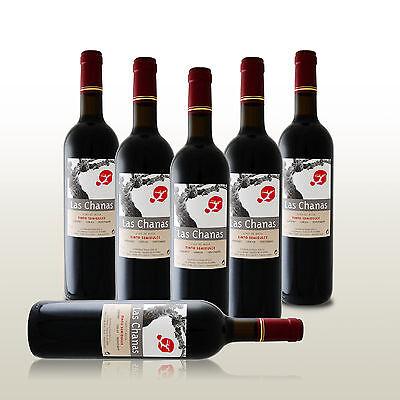 6 Fl. Las Chanas Tinto Semi Dulce, Halbsüßer Rotwein aus Spanien, Wein lieblich
