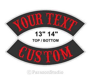 Custom-Embroidered-13-034-14-034-Top-Bottom-Rocker-Sew-on-Patch-MC-Biker-Badge-B