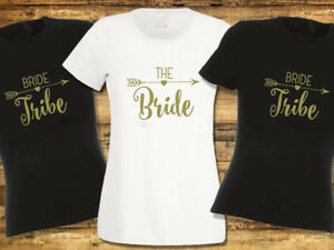 Bride-Tribe-Hen-Party-T-Shirts-Hen-Do-T-shirt-Ladies-or-Unisex-Available-Gold