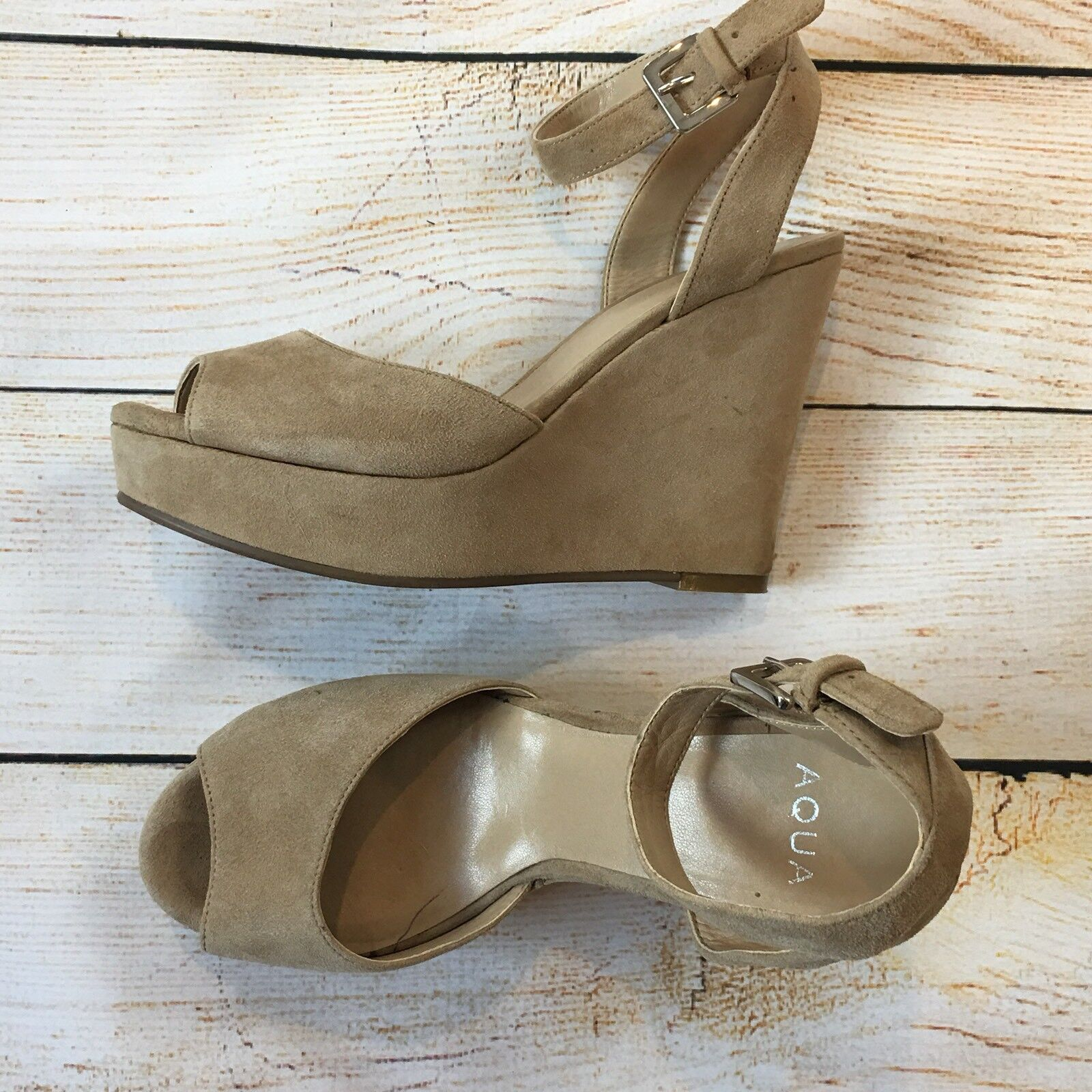 AQUA Light Beige Suede Wedges Sandals Ankle Strap Size 7 M