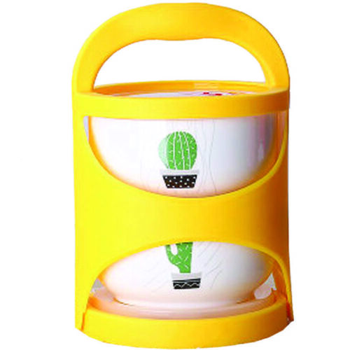 〔Cactus〕 Two-layer Portable Ceramic Lunch Box Microwave Fresh-keeping Bowl