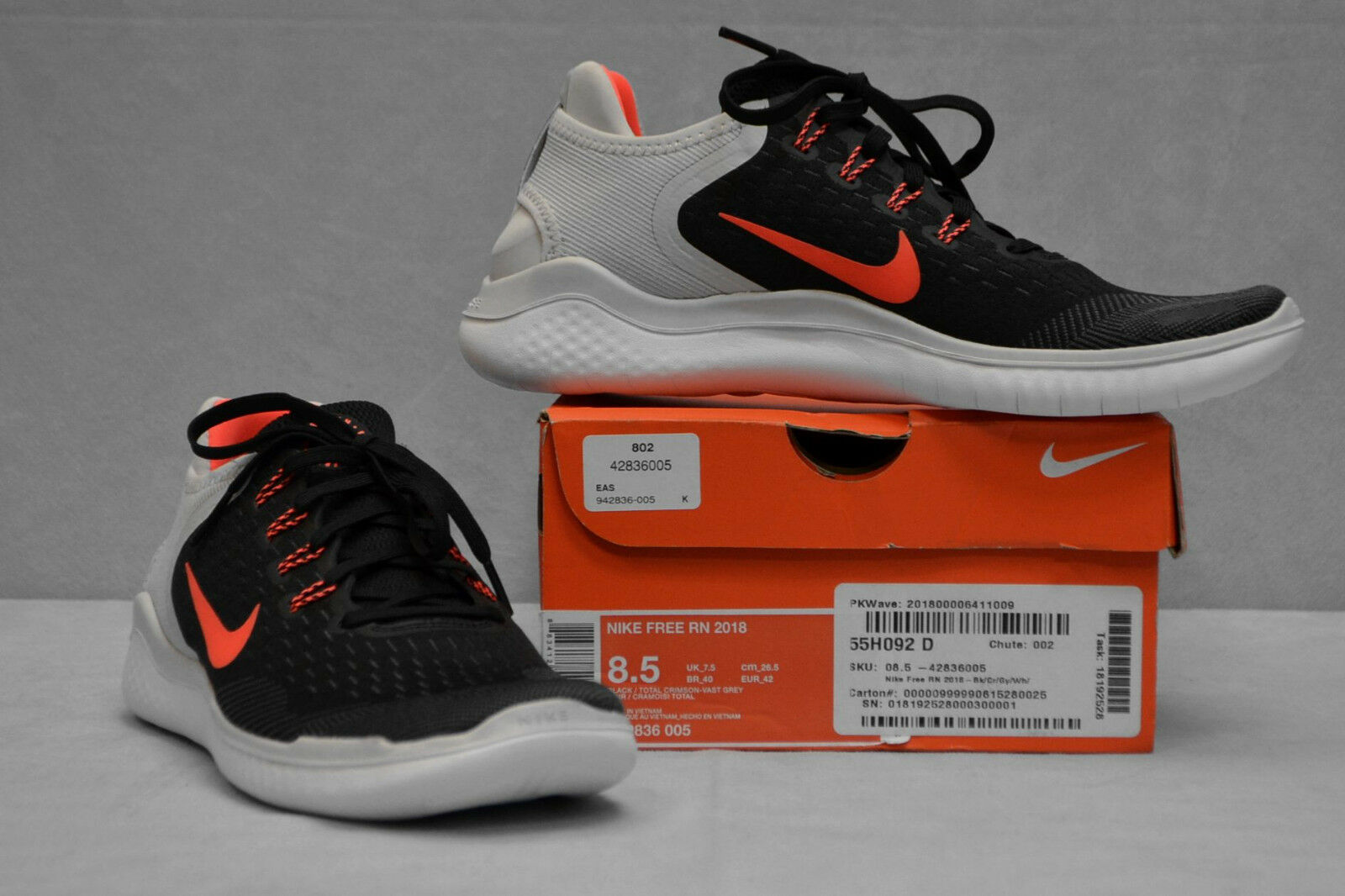 B6 NEW NIKE FREE RN 2018 Blk Crimson-Vast Grey Running shoes 942836 005 Size 8.5