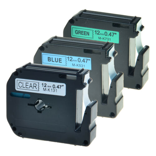 3 PK MK131 MK531 MK731 Label Tape Clear Blue Green on For Brother P-touch PT-90