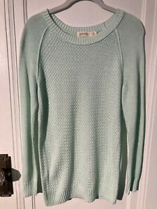 Faded Glory Women's Small Mint Green Long Sleeve Knit Pullover Sweater