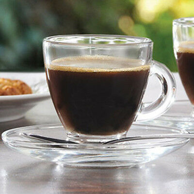 Set Of 2 Glass Espresso Cups And Saucers Small 80ml Coffee Expresso Shot Mugs