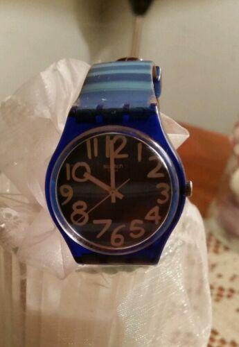 1 of 1 - Swatch watch Unisex Blue Dial Analog Quartz Watch with Plastic Strap