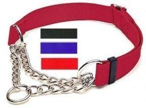Coastal Nylon Martingale Check Training Choke Dog Collars BLUE RED BLACK PINK