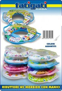 Riduttore wc morbido con manici maniglie x bambini sedile for Blocca maniglie bambini