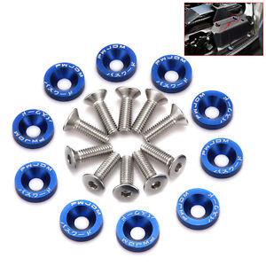 6 Sets M6 Billet Aluminum Fender//Bumper Screw Washer//Bolt Engine Bay Blue