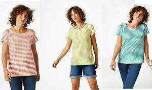 WHITE-Stuff-Scollo-Profondo-Rosa-Bianco-Verde-a-Righe-Blusa-Top-Maglietta-8-12-14-16-18
