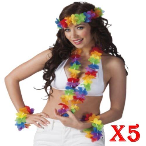 1 x 4 piece Hawaiian Flower Lei Hula Necklace Garland Headband Wristbands HW031