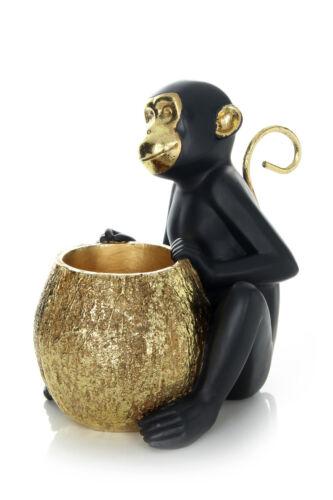 Deko Figur Gold Affe Äffchen Behälter Schwarz Gold