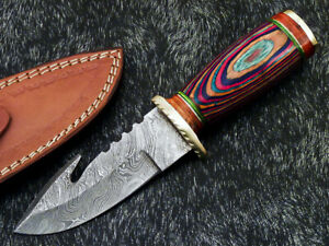 """Authentic HAND FORGED DAMASCUS BLADE 9"""" HUNTING KNIFE - HARD WOOD - WD-9138"""