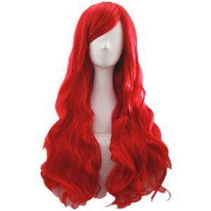 MERMAID ARIEL Curly wave RED WIG cosplay wig CC57+a wig cap