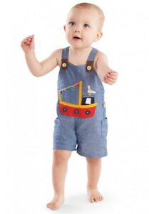 424ccbdc4863 Mud Pie Tugboat Chambray Overalls w  Tugboat and Seagull Applique
