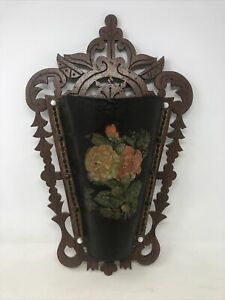 Antique-Victorian-Carved-Wood-Wall-Pocket-Hanging-With-Floral-Design