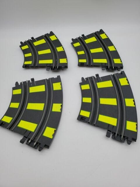 Vintage ARTIN 1/43 Slot Car Track 2 Lane Banking Curve Track 4 PIECES Yellow