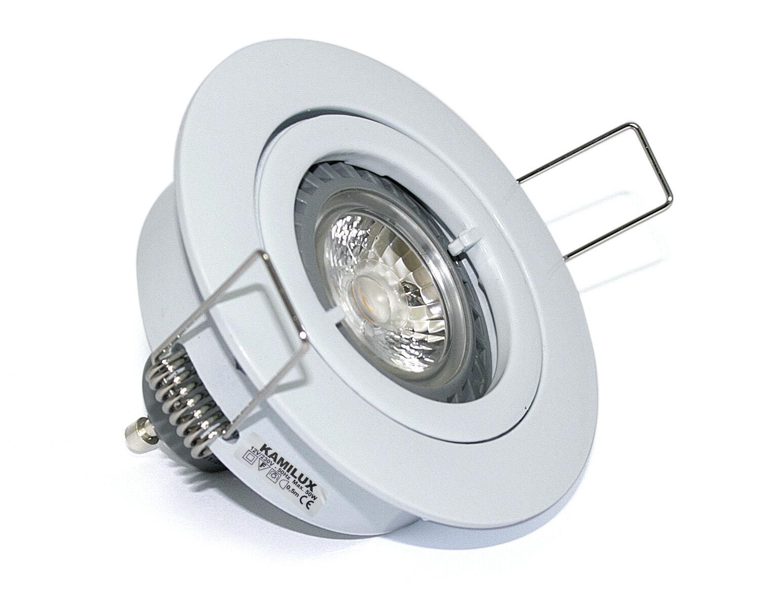 12V Niedervolt Einbaustrahler inkl. 5 Watt = 50W COB LED Leuchtmittel, MR16 5W