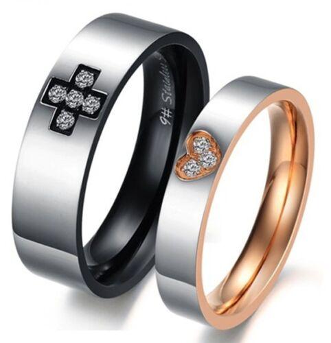 Anneau Boîte couple mariage bandes sur la vente R111 titane acier en Promesse Bague