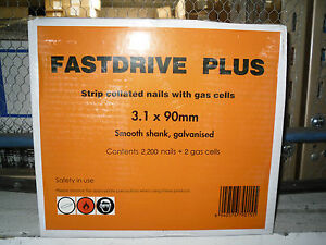 Paslode Type 1st Fix Nails 90mm x 3.1mm c/w 2 Fuel Cells