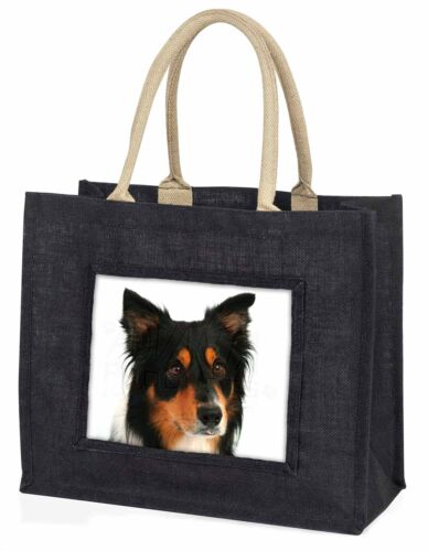 AD-CO33BLB Tri-Colour Border Collie Dog Large Black Shopping Bag Christmas Pres
