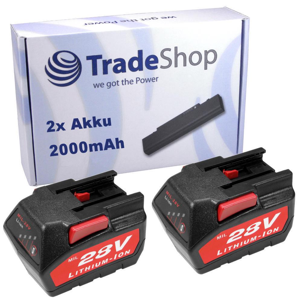 2x AKKU 28V 2000mAh Li-Ion für Milwaukee HD28 AG HD28AG 125 Winkelschleifer
