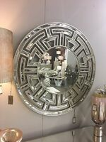 Large Aztec Style Gold Mirrored Glass Round Circular Statement Wall Mirror