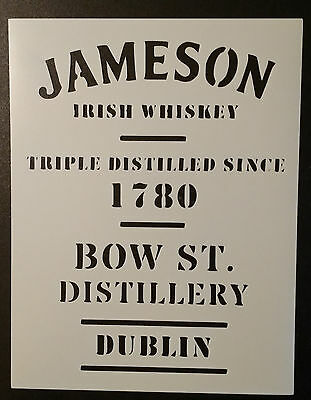 "Jameson Irish Whiskey 11/"" x 8.5/"" Custom Stencil FAST FREE SHIPPING"