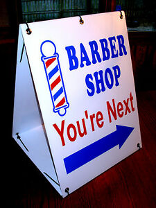 BARBER SHOP You're Next with ARROW 2-Sided  Sandwich Board Sign Kit NEW