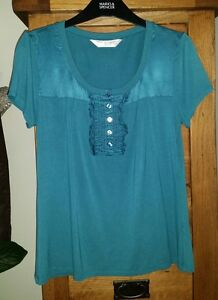 Ladies-Pretty-Marks-and-Spencers-Autograph-Green-Top-with-silk-Size-8