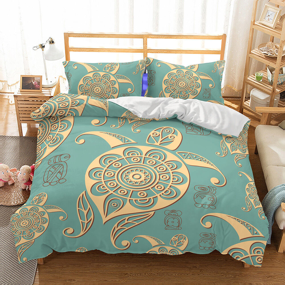 Bedding set Sea turtle Print Duvet cover set bedclothes with pilFaiblecase Textiles