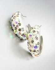 SHIMMERY Chic Alexis Aurora Borealis Crystals White Resin Hoop Earrings