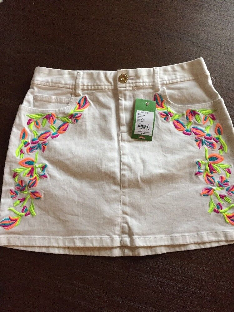 NWT Lilly Pulitzer Salli Skirt in Resort White Size 6 w  Embroidery, White Denim