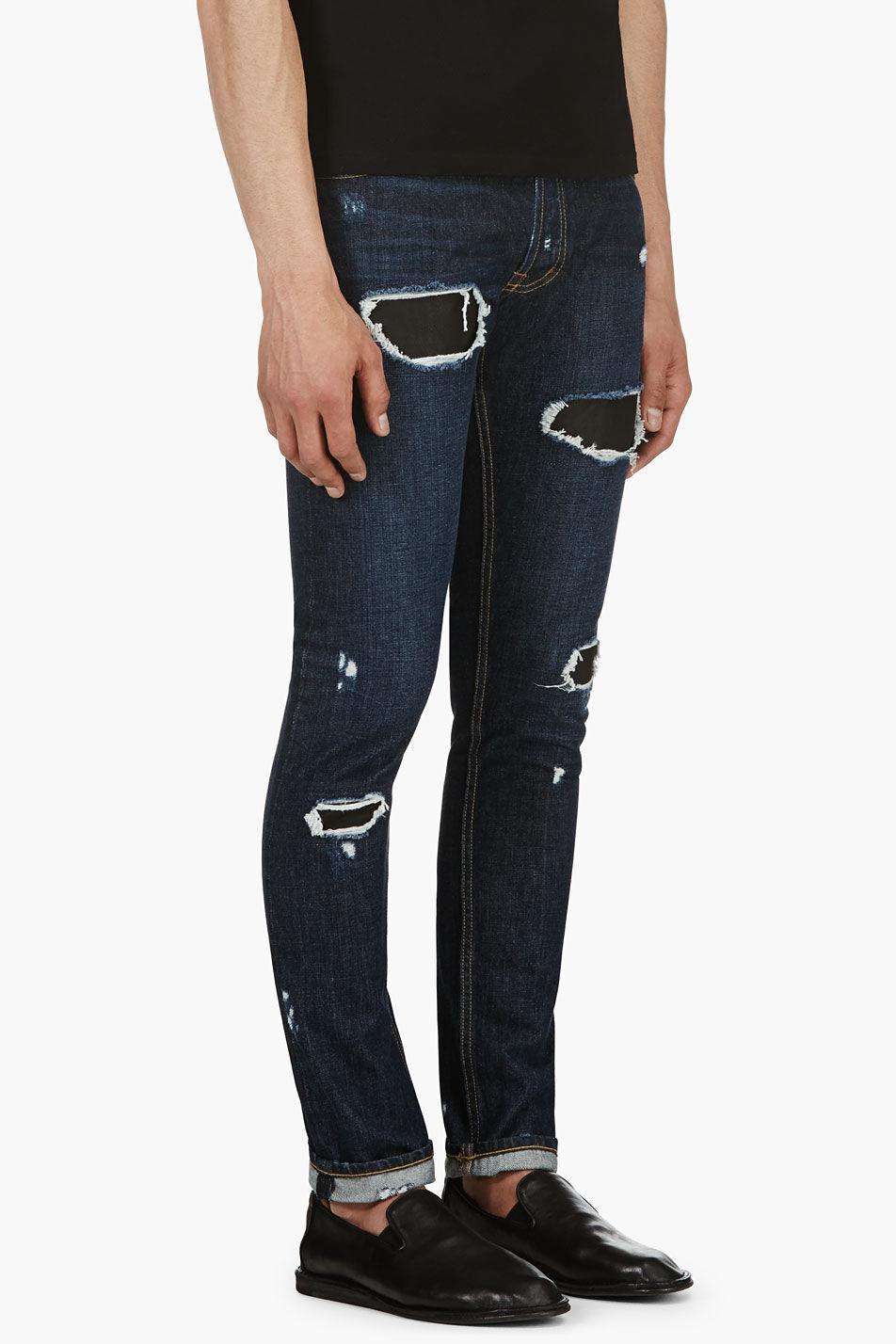 NWT  Public School bluee Indigo Distressed Leather Patch Skinny [Size 31] A87