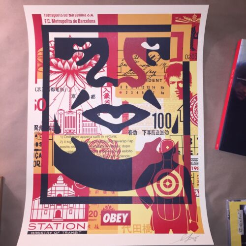 Shepard Fairey OBEY 3 Face Collage Prints SIGNED POSTERS MINT KAWS BANKSY 18X24
