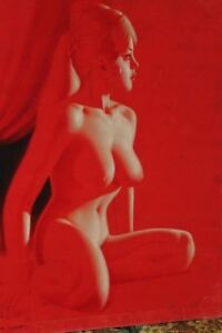 1970-039-s-Vintage-Nude-Lady-on-Red-Velvet-Painting-w-wooden-frame-36x28-in