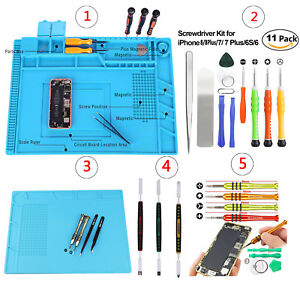 Cell-Phone-Screen-Opening-Tools-Kit-Screwdriver-Silicone-pad-For-iPhone-8-7-6s-6