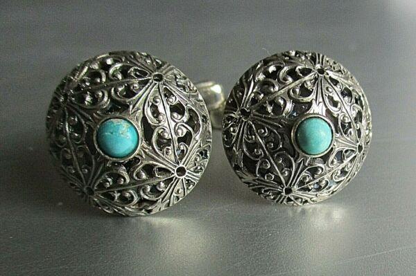 800 Silber / Edle Antike Manschettenknöpfe / Türkis / Cufflinks / Gemelli Rohstoffe Sind Ohne EinschräNkung VerfüGbar