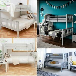 Triple Sleeper Pine Wood Bunk Bed 3ft And 4 6ft White Silk Grey Kids Adult Ebay