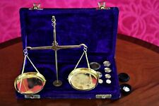 Vintage Precision Small Weight Brass Balance Jewelry Scale Cased Complete Nice