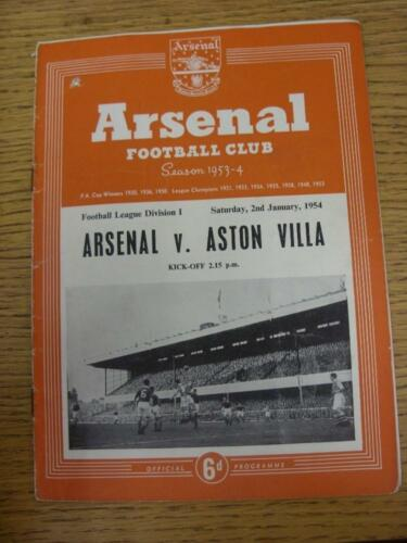 02011954 Arsenal v Aston Villa m changes, punched hole, rusty staples, sl