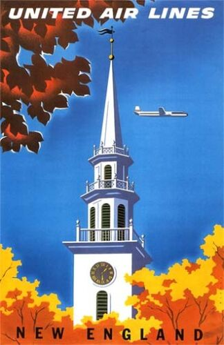 """Vintage United /""""NEW ENGLAND/"""" Travel Poster 11 by 17"""