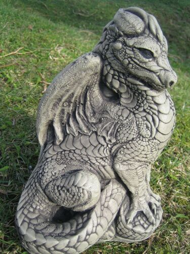 Standing dragon stone garden ornament
