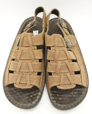 Amiable Josef Seibel Brown Woven Leather Open Toe Buckle Sandals Women's 40 Sandals 9-9.5